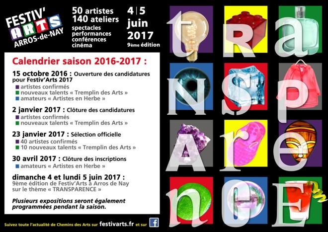 Calendrier Festiv'Arts 2017