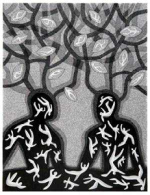 Les PENSÉES FERTILES - Plume + encre de chine (63*48cm) (2016)