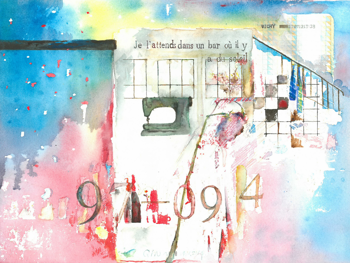 Je t'ATTENDS dans un BAR - Aquarelle (33*43cm) (2014)