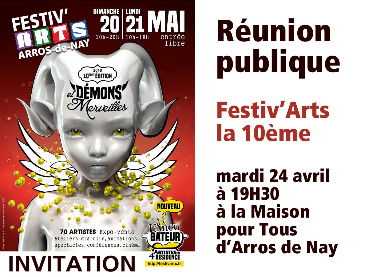 Réunion publique « Festiv'arts la 10ème » mardi 24 avril à 19H30 à la Maison pour tous d'Arros de Nay