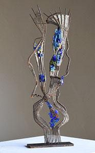 MÉDITERRANÉE - Tissage fil de fer et mosaïque de verre (45x18x15cm) 2015