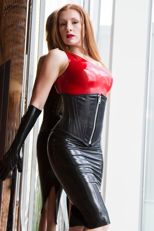 black-latex-pencil-skirt-gloves-red-top