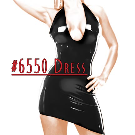 black latex asymmetrical dress