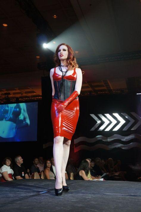 Fetisso Smokin Hot Red Latex rocks lingerie show