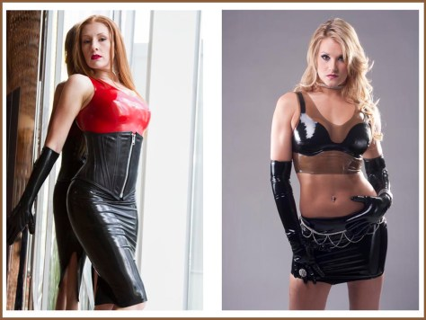 black latex pencil skirt, red halter top, black miniskirt, black bra