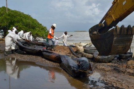 trinidad&Tobago, Trinidad, 2014, South West Coast, La Brea, Oil Spill along gulf-of-paria, oil-pollution caused by State Oil Company Petrotrin, that ruined mangroves, marine-life, beaches and artisanal fishery communities along trinidad's south west coast
