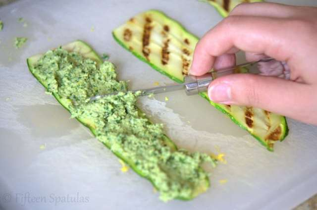 Grilled Zucchini Rolls with Pesto