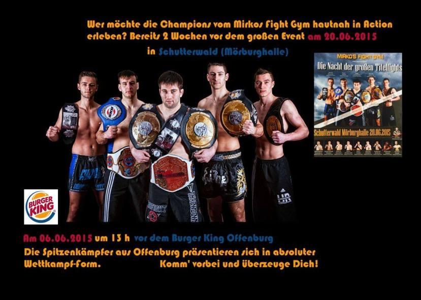 mirkos fight gym, offenburg, burger king, kampfsport vorführung, fightnight schutterwald