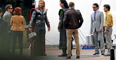 Chris Hemsworth, Jeremy Renner, Scarlett Johansson, Robert Downey Jr, Chris Evans, Mark Ruffalo, Tom Hiddleston, The Avengers 2012, set, 01