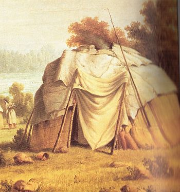 Ojibwe wigwam, from a 1846 painting by Paul Kane