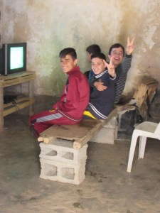 Yazidi youth playing video games