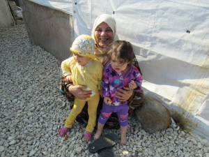 Syrian Woman with her children at a Sunni refugee camp in Akkar district of Lebanon