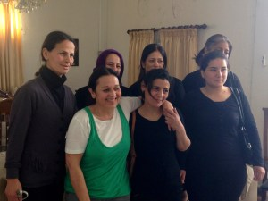 "Six women in black, ""Martyrs' Widows,"" wives of Syrian Army soldiers killed by Da3sh/ISIS"