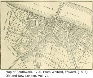 Map of Southwark 1720 with Caption