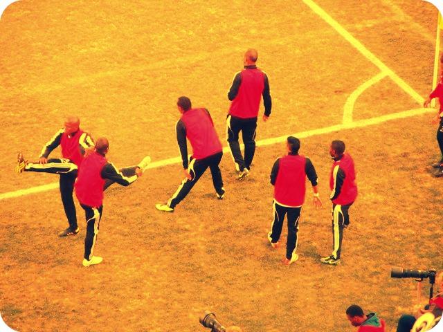 Warming up for soccer at Ellis Park