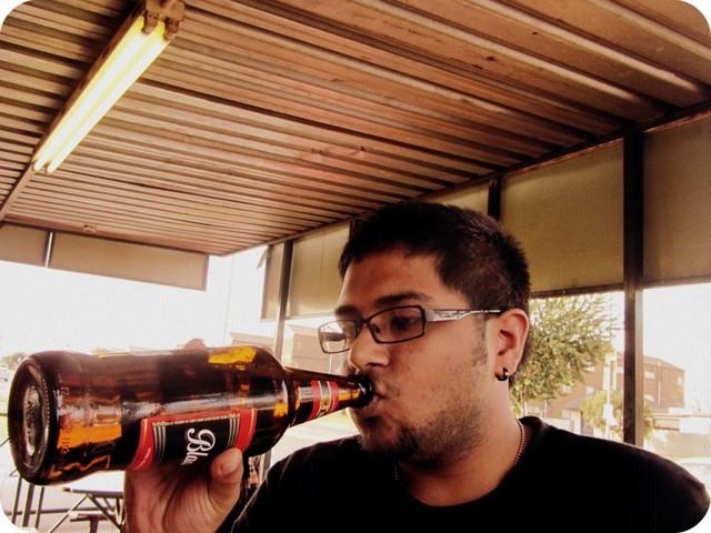 Drinking a Black Label quart in Soweto