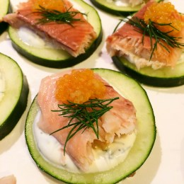 cucumber with smoked trout and yogurt sauce