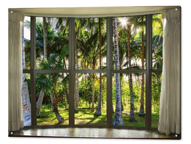 Tropical Jungle Reflections Bay Window View Acrylic Print