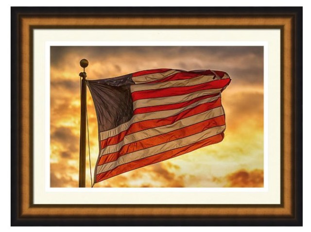 American Sunset On Fire Framed Print