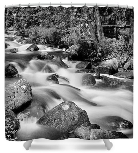 Cascading Rocky Mountain Forest Creek Bw Shower Curtain