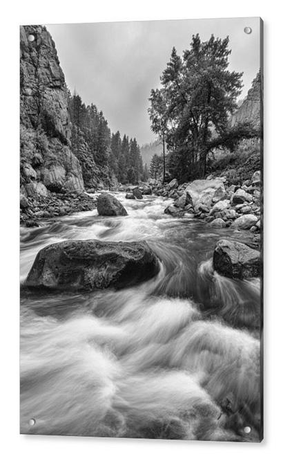 Colorado Black And White Canyon Portrait Acrylic Print