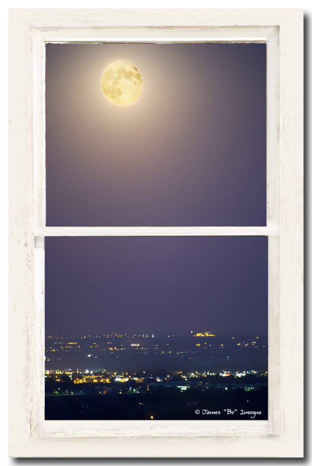 Super Moon Over City Lights View Through White Rustic Window
