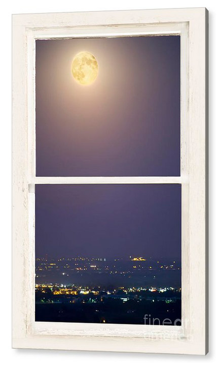Super Moon Over City Lights Window View Acrylic Print