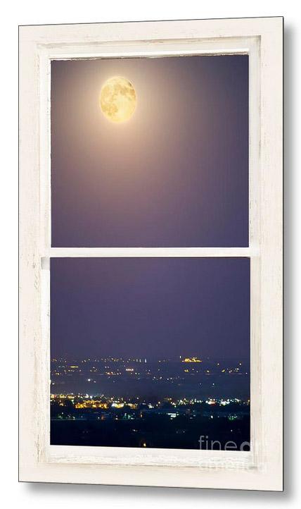 Super Moon Over City Lights Window Views
