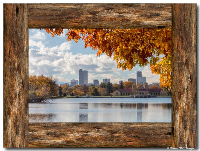 Denver City Skyline Barn Wood Window View
