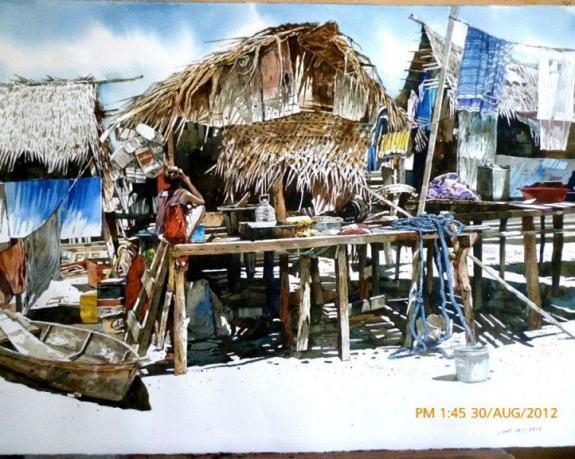 Malaysian-watercolor-painting