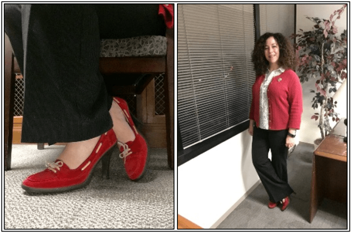 Day 8 - red suede loafer style pumps