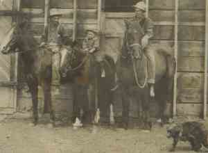 Percy Farnworth (left) on horseback