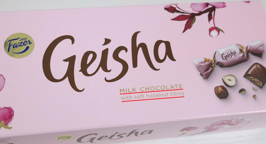 フィンランドで売られている日本風のチョコレート菓子「Geisha(ゲイシャ)」。味はミルクチョコレートにヘーゼルナッツが入っている