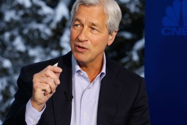DAVOS 2016; World Economic Forum -- Pictured: Jamie Dimon, chairman, president and CEO of JP Morgan Chase, in an interview at the annual World Economic Forum in Davos, Switzerland, on January 20, 2016 -- (Photo by: David A.Grogan/CNBC/NBCU Photo Bank)