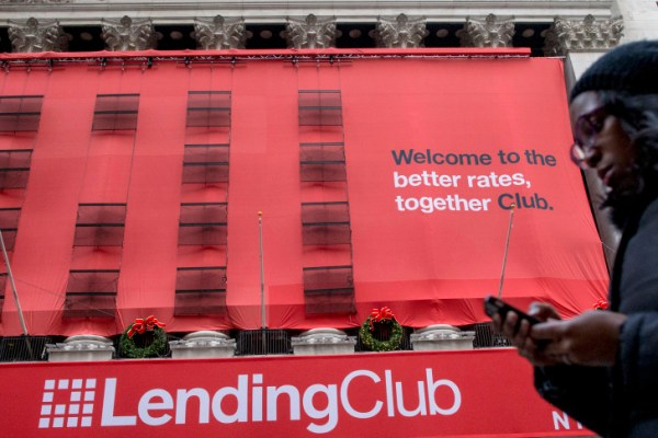 A Lending Club banner hangs on the facade of the the New York Stock Exchange in New York, New York, United States December 11, 2014.   REUTERS/Brendan McDermid/File Photo - RTX2IO5A