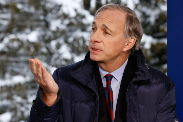 DAVOS 2016; World Economic Forum -- Pictured: Ray Dalio, Bridgewater Associates Founder, President and CIO, in an interview at the annual World Economic Forum in Davos, Switzerland, on January 20, 2016 -- (Photo by: David A.Grogan/CNBC/NBCU Photo Bank via Getty Images)
