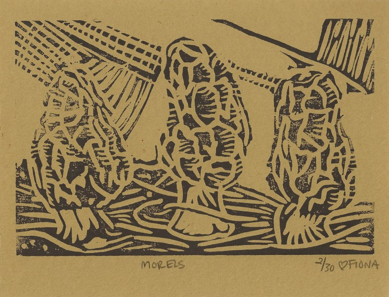 Morels, one color woodblock print, 2015.