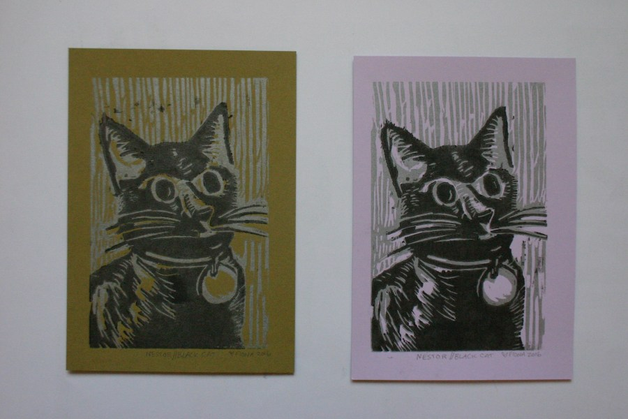 Nestor//Black Cat, two color woodcut reduction print, 2016.