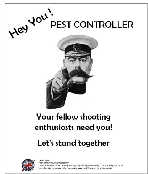 A Firearms UK meme to encourage greater support between the shooting community and pest controllers