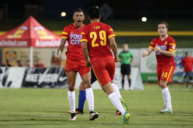 Long Tan celebrates his goal with Tyler Blackwood - ArizonaUnited.com / Michael Rincon
