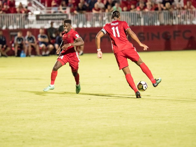 Phoenix Rising's DidierDrogba, right, corrals the ball as Jason Johnson looks on during a game against Whitcaps FC 2 on June 11, 201 at the Phoenid Rising Soccer Complex in Scottsdale, Arizona. Photo by Aaron Blau/Firebird Rising
