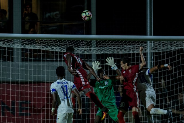 Jason Johnson scores the match winner - Photo courtesy Michael Rincon/Phoenix Rising FC