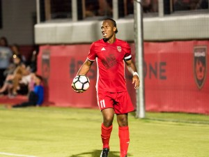 Phoenix Rising FC's Didier Drogba grabs the ball during a match against Whitecaps FC 2 June 10, 2017 at the Phoenix Rising Soccer Complex in Scottsdale, Ariz. Photo by Aaron Blau/Firebird Rising