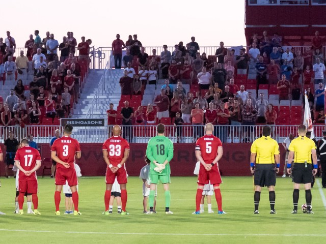 Defenders Peter Ramage and Jordan Stewart stand for the National Anthem of their adopted country on May 13, 2017 vs. OKC Energy FC