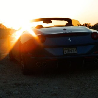 Ferrari California T sunset during test drive in LA.