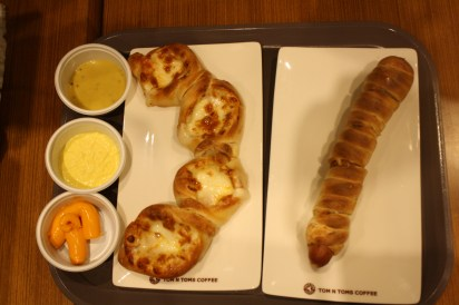 Sweet potato pretzel with dips and the Dog Pretzel.