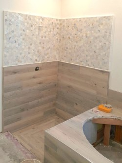 Small Of Wood Tile Shower