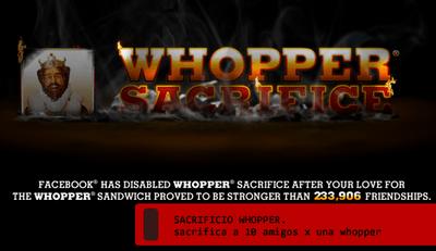 Sacrifica a tus amigos por una whopper gratis, promoción de Burger King
