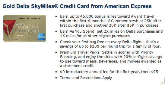 Delta Gold 45K offer from CreditCards.com