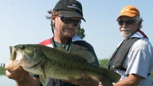 Pete holds a St Clair River Largemouth that hit a Jig & Pig.